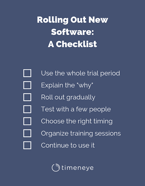 rolling out software checklist