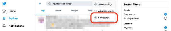 Save Search on Twitter