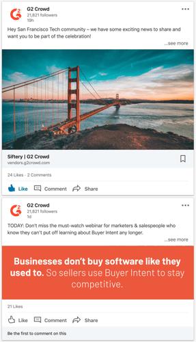 screenshot of g2's posts on linkedin