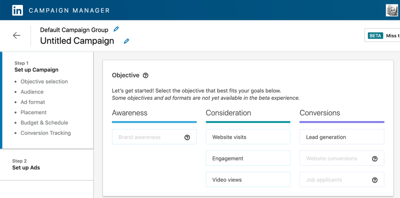 screenshot of the objective page in linkedin campaign manager