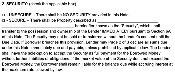 security promissory note