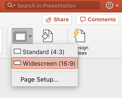 slide size settings in powerpoint