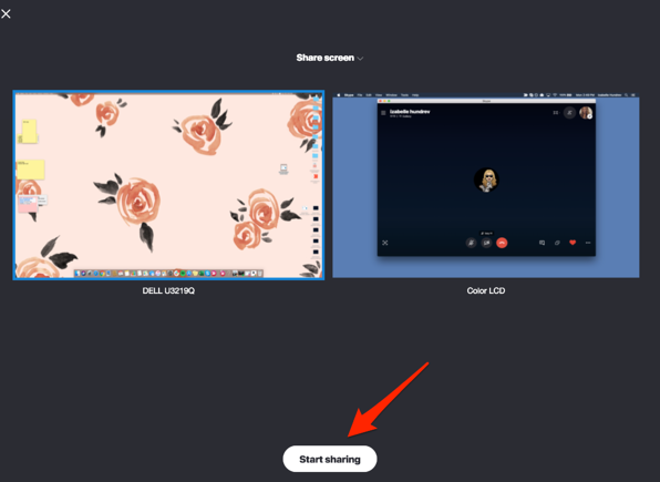 select a screen to share on Skype