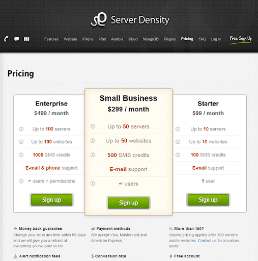 server density pricing