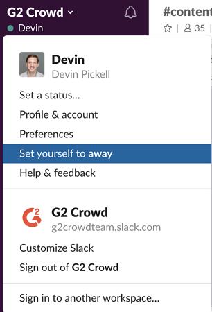 set self to away on Slack