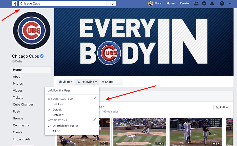 Settings on a Facebook Page Profile