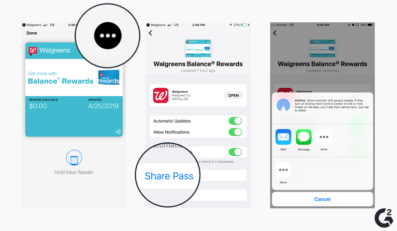 Screenshots of how to share cards in Apple Wallet