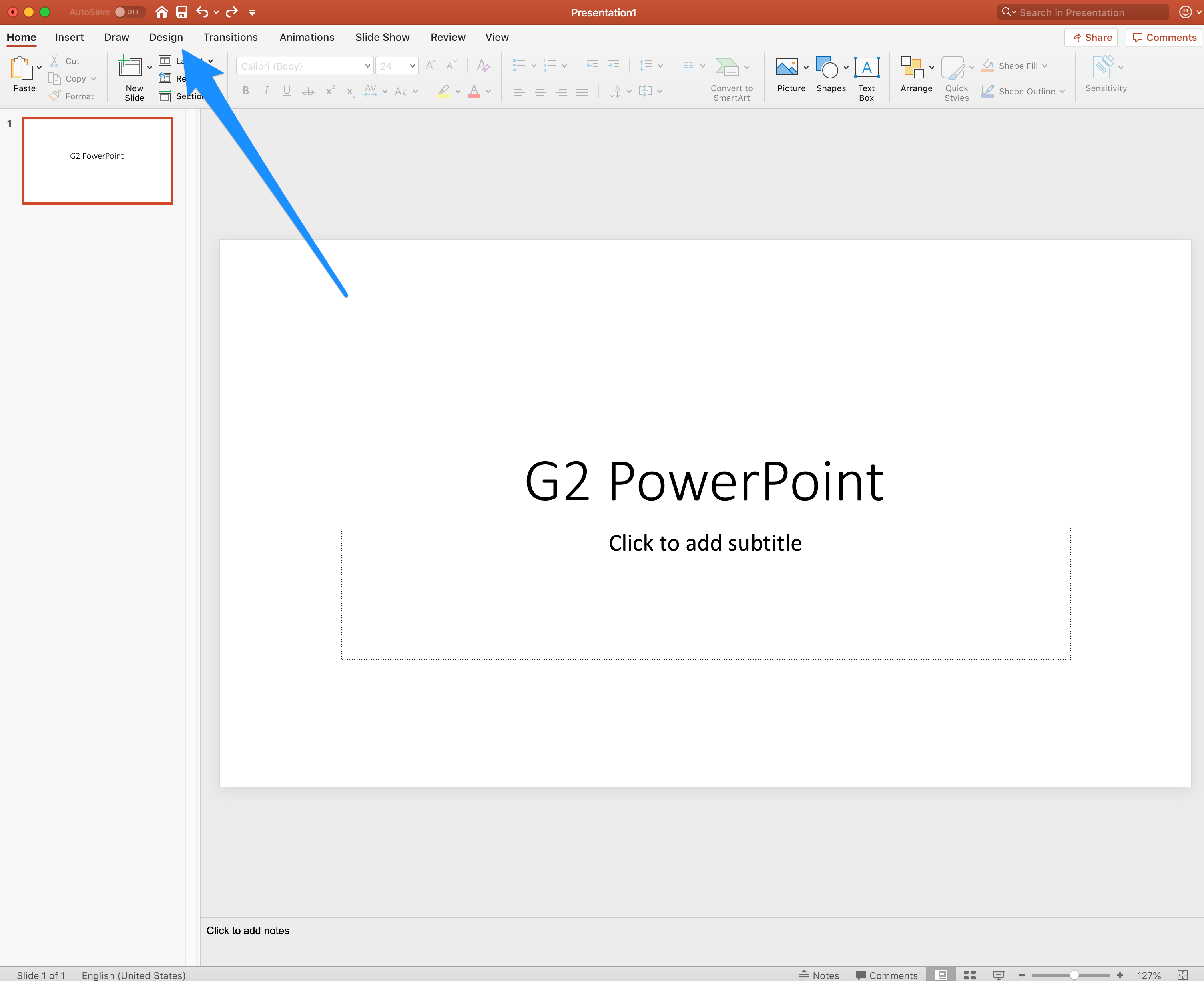 select design in PowerPoint
