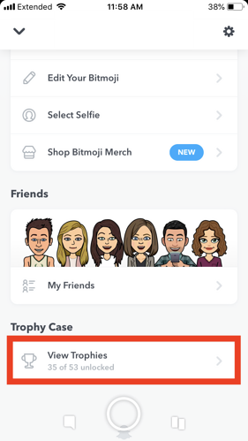 snapchat trophies on profile screen