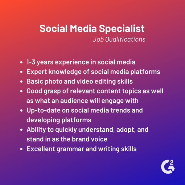 social media specialist job qualifications