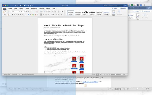 use split screen for Microsoft word on Mac