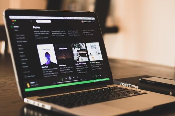 Spotify application open on laptop