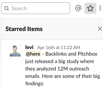 starring items in Slack