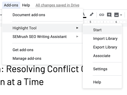 start highlight tool