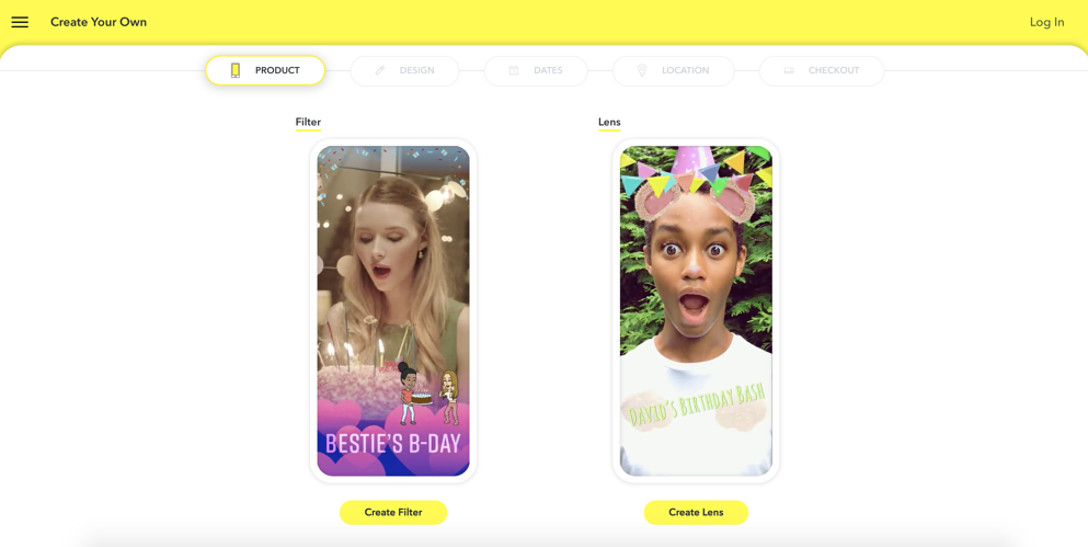 how to make a Snapchat geofilter press create filter