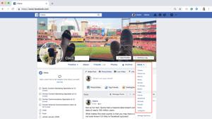 om meerdere Facebook-pagina's leuk te vinden, klikt u op het tabblad More en selecteert u likes