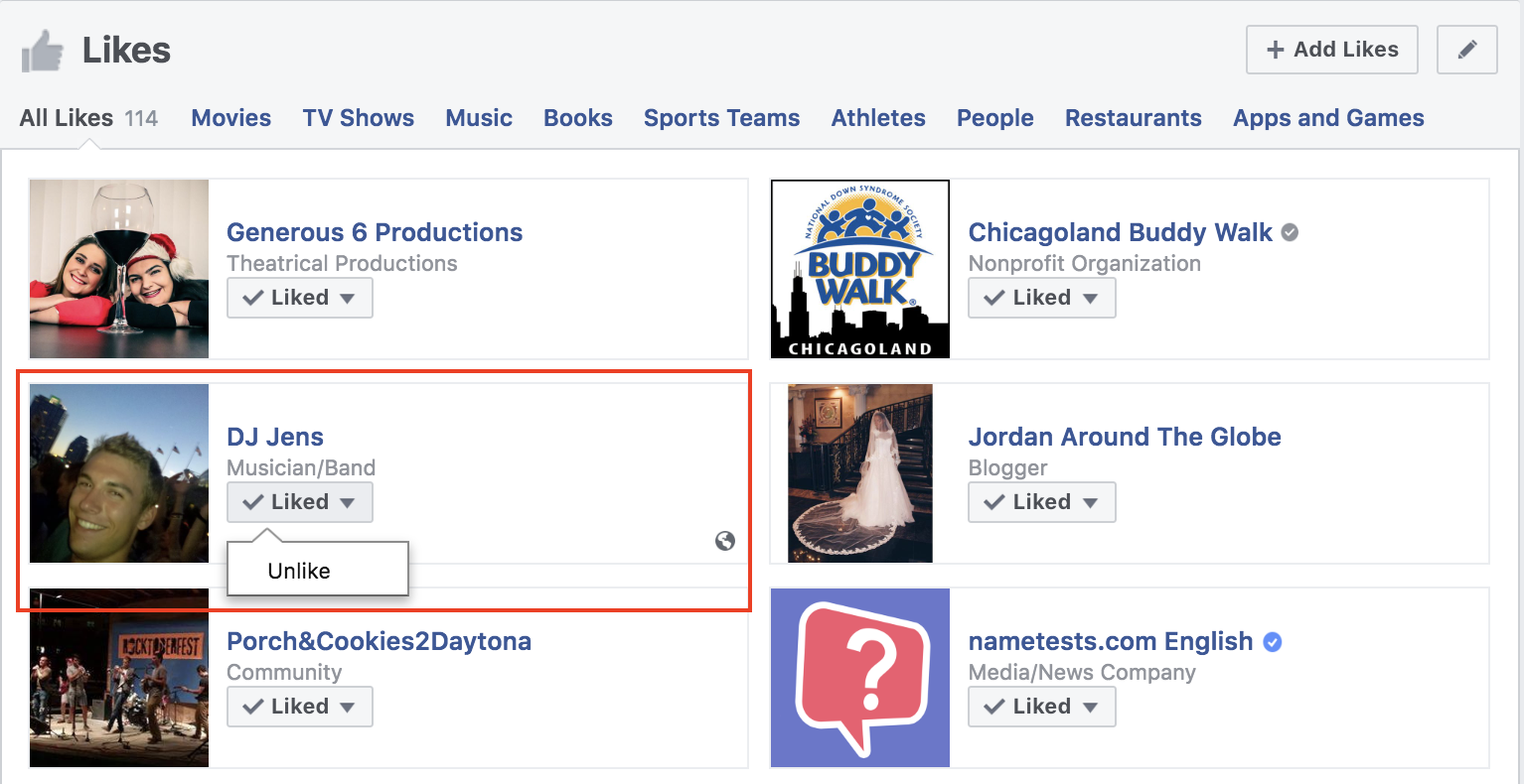 how to unlike multiple facebook pages select the page to unlike and press Unlike