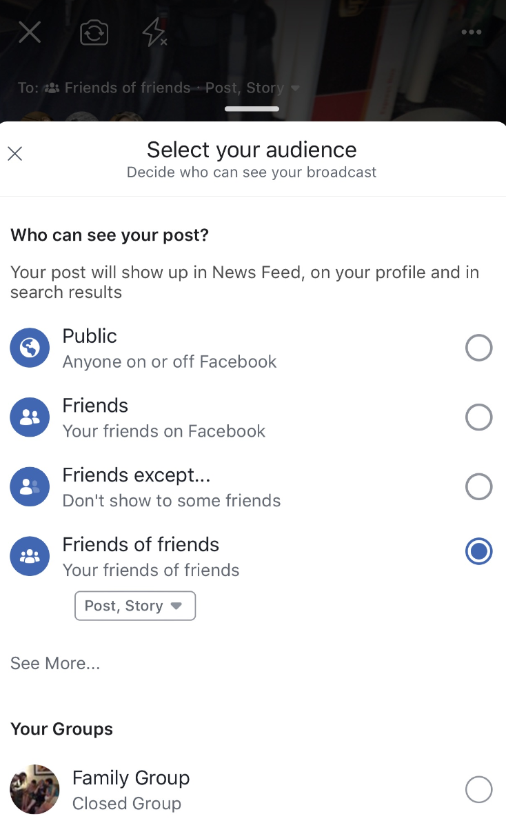Select your Facebook privacy setttings