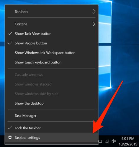 select taskbar settings to hide taskbar in windows 10