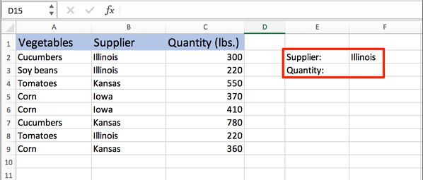 type out supplier and quantity in Excel