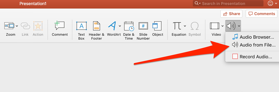 select audio from file in powerpoint