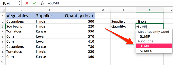 select SUMIF in Excel