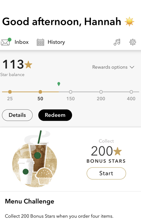 strabucks rewards