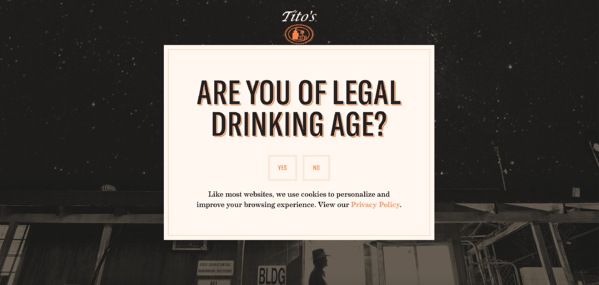titos splash page example