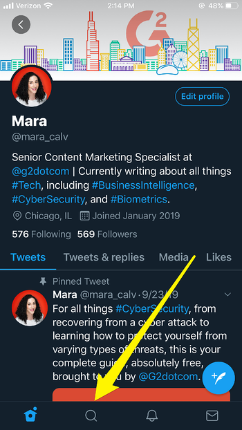 Twitter Search Bar on Mobile