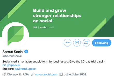 sprout social example for a twitter logo and banner