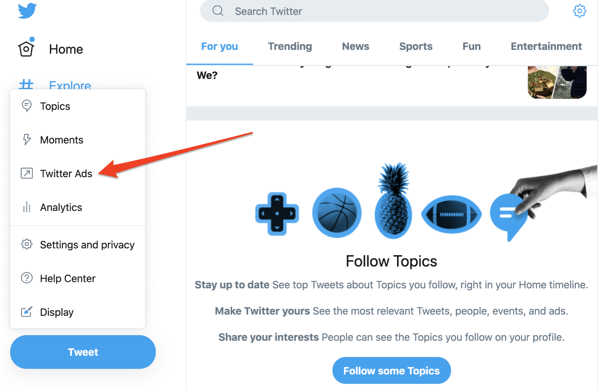 how to navigate to Twitter Ads homepage