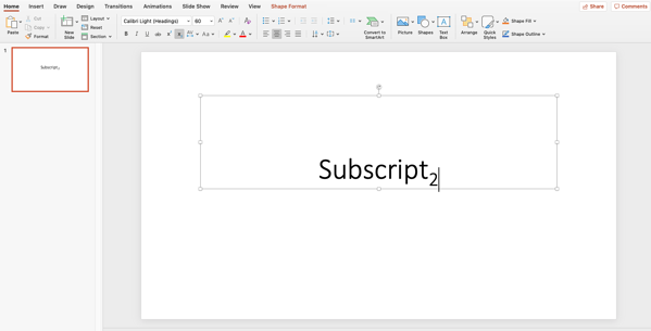 type your subscript