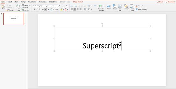 type your superscript