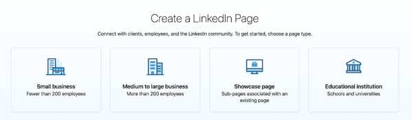 types of linkedin business pages
