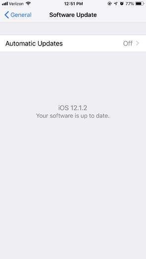 iPhone Software Up To Date