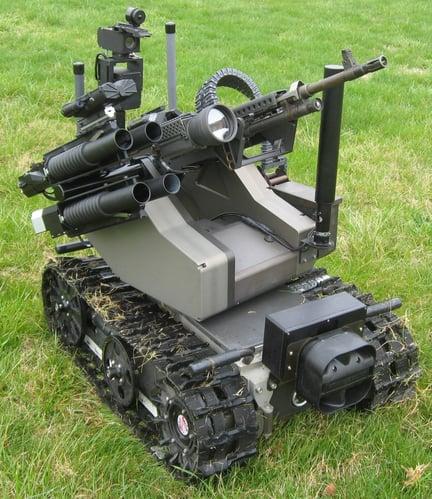 Armed shooting US military robot