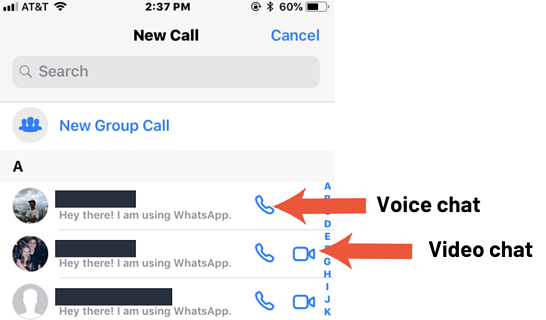 whatsapp voice and video chats