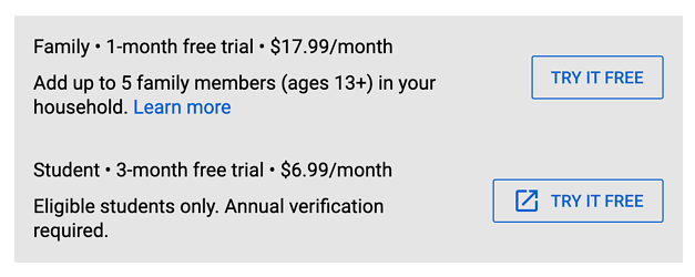 youtube premium subscription prices