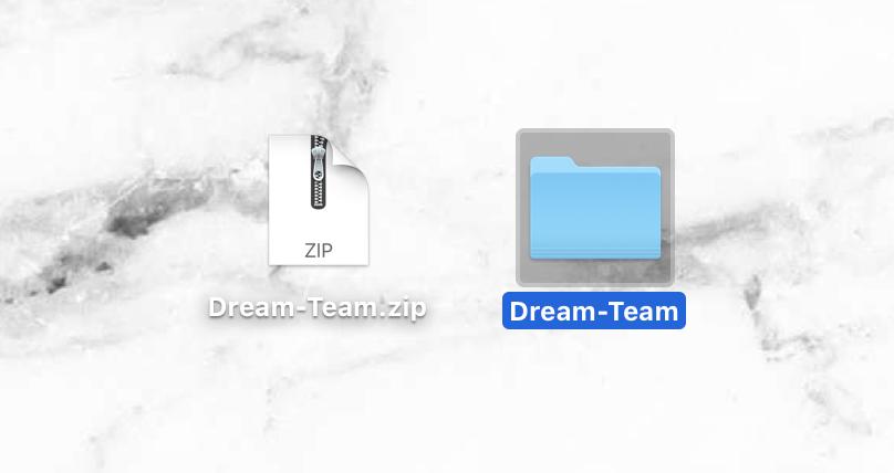 zip file to folder