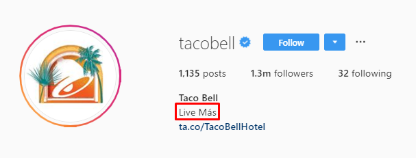 Taco Bell IG bio