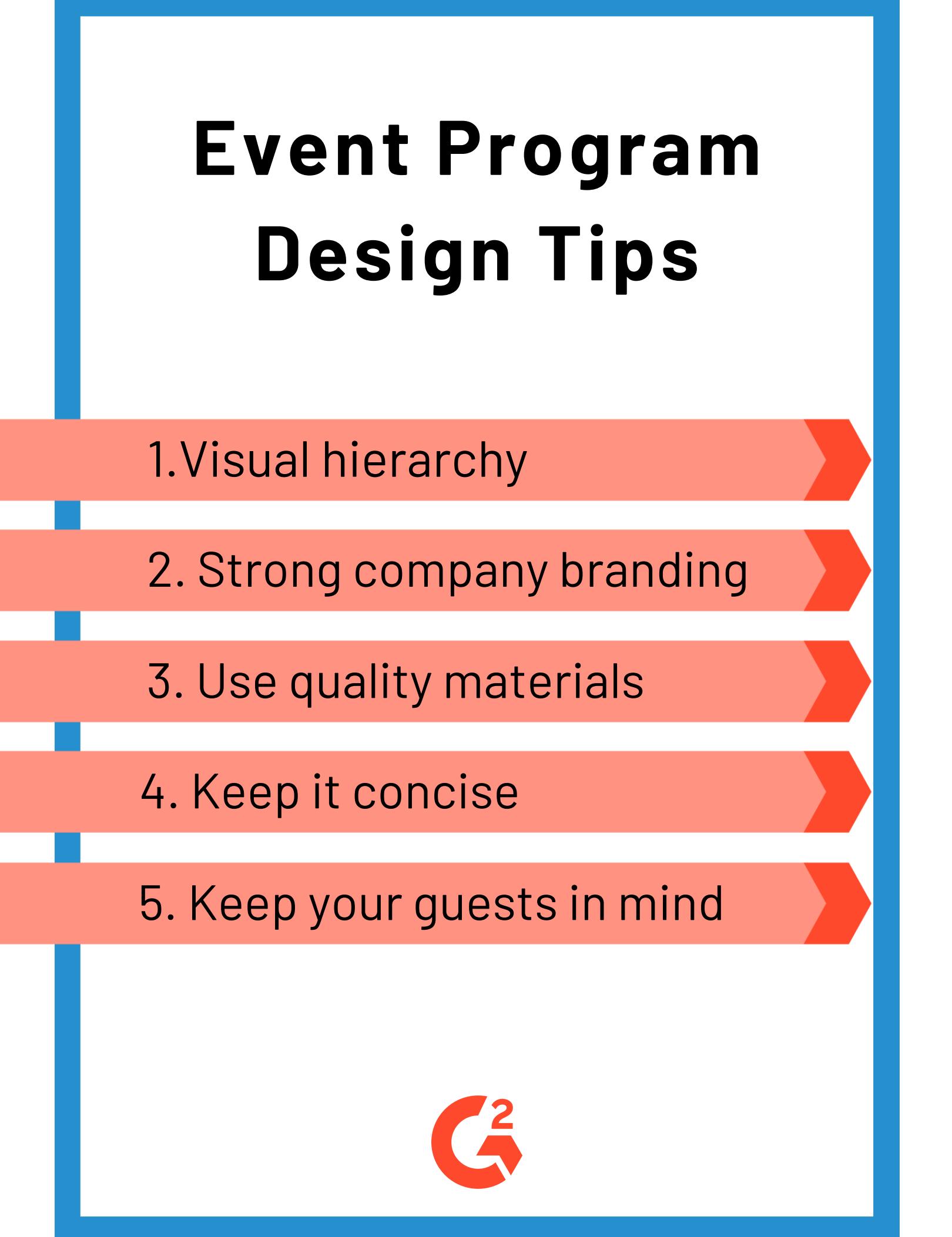 Event Program tips