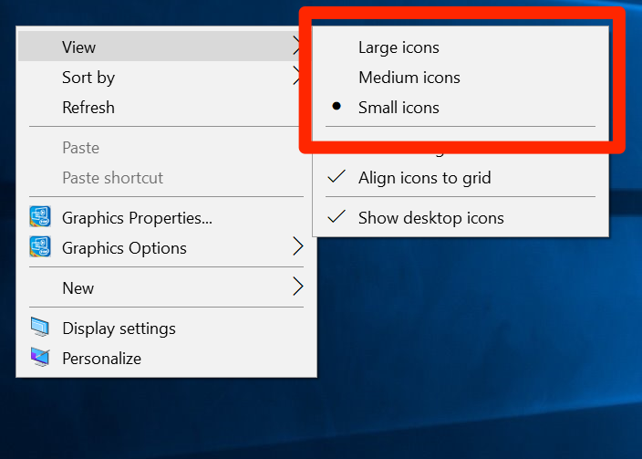 Change Icon Size in Windows 10