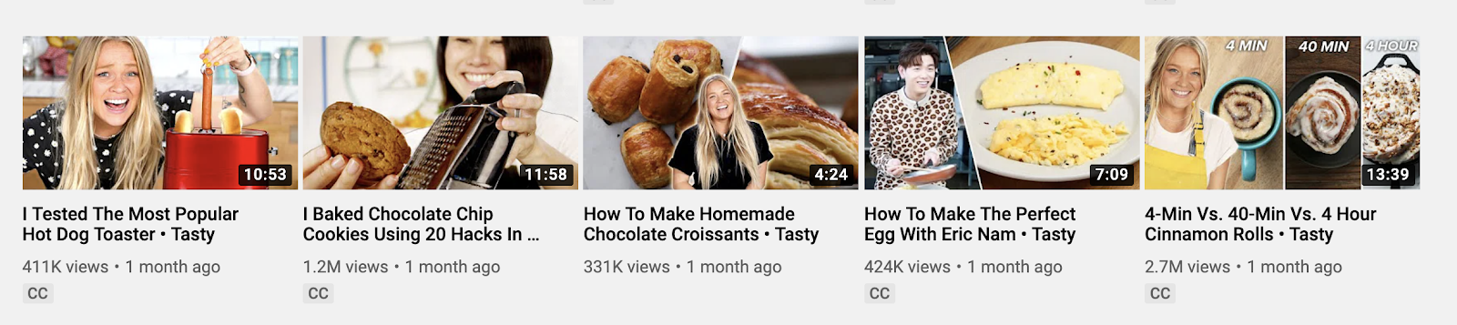 Example of video thumbnails