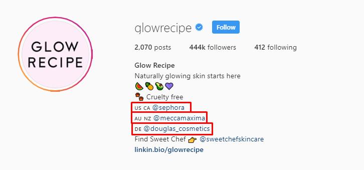 Glow Recipe IG bio