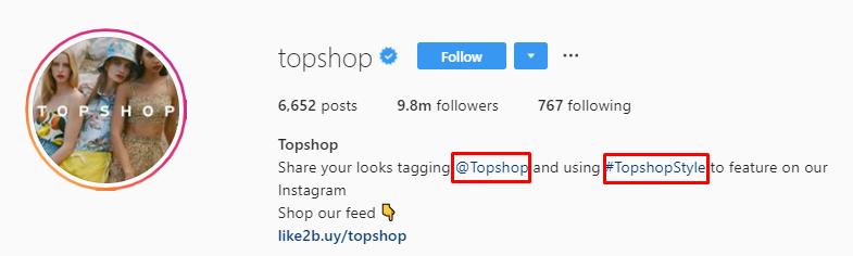 Topshop IG bio