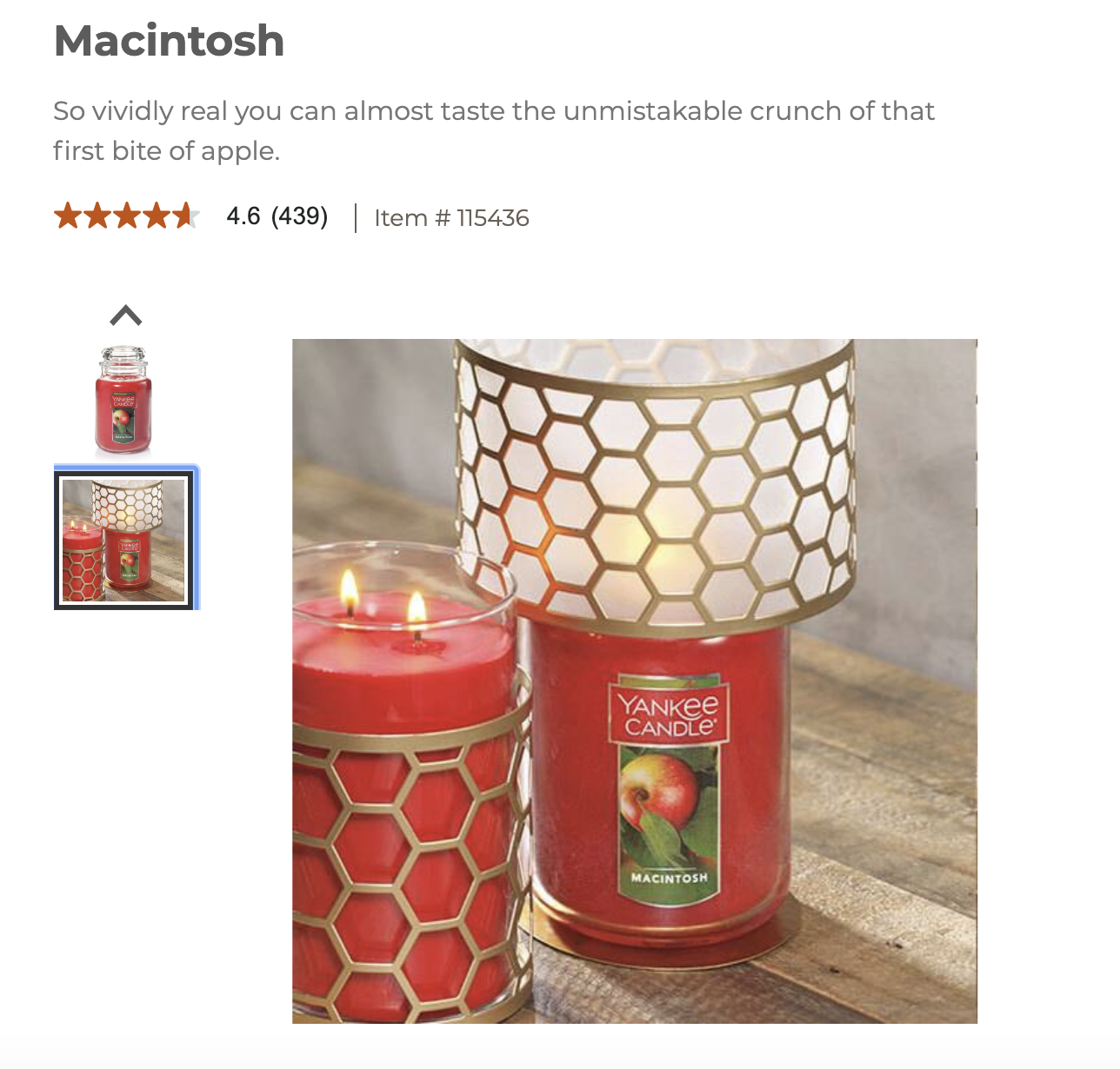In-context product shot of a Yankee Candle