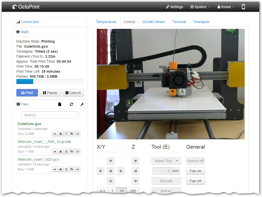 Octoprint 3D printing