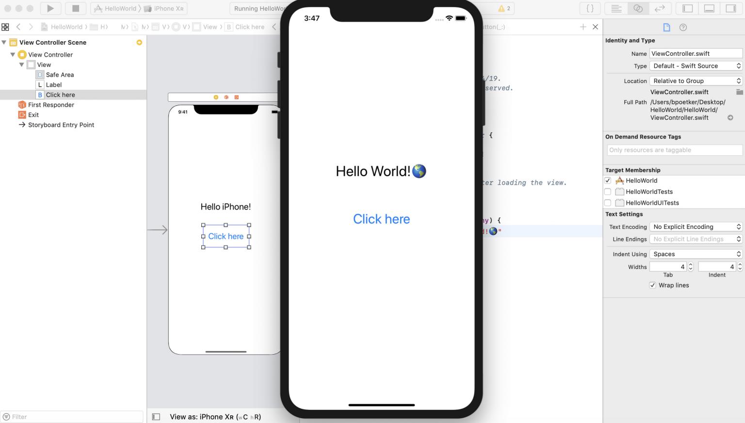 Swift Xcode tutorial for app