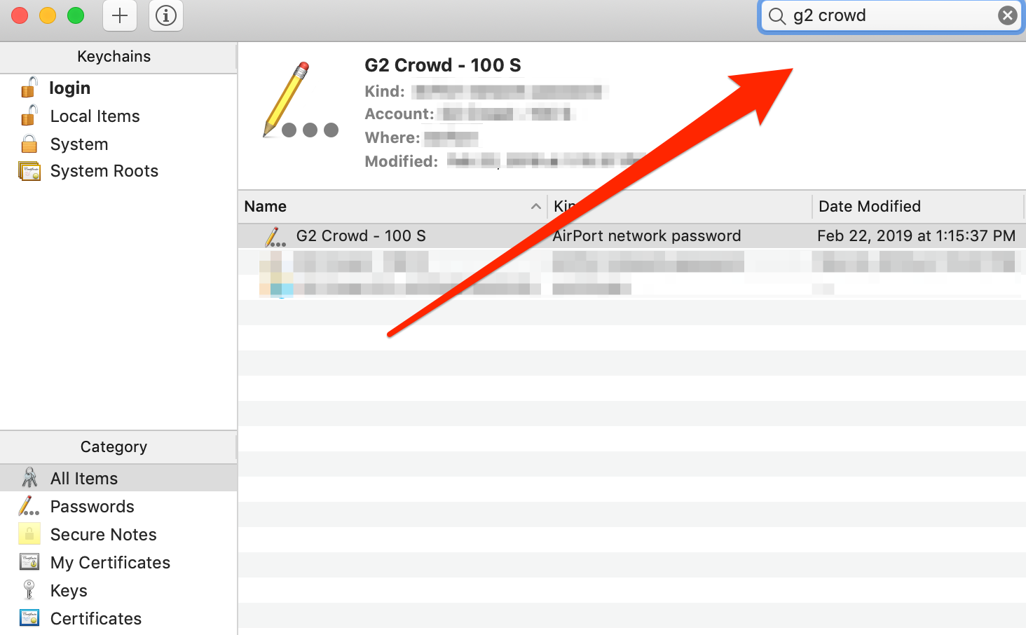 Keychain Access Search Bar on Mac