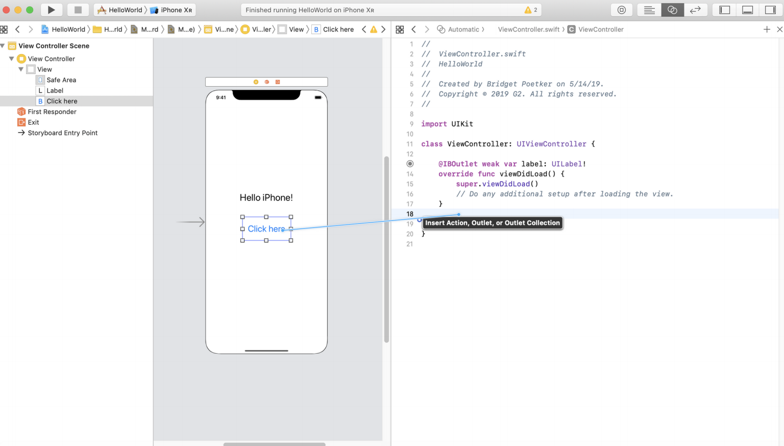 IB Action in Swift